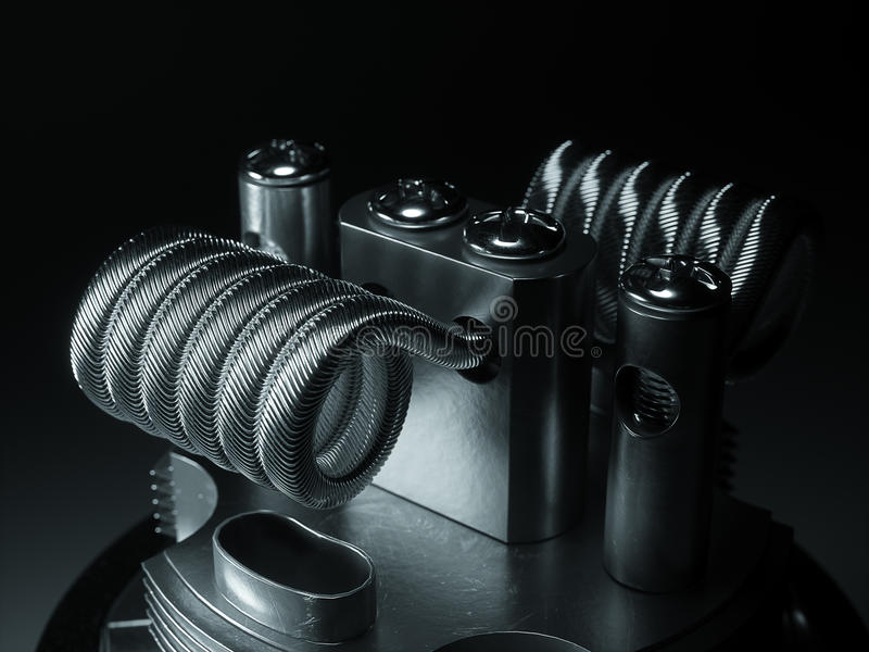 Vaping atomizer with clapton coil. 3d rendering. Vaping atomizer with clapton coil. Black background stock illustration