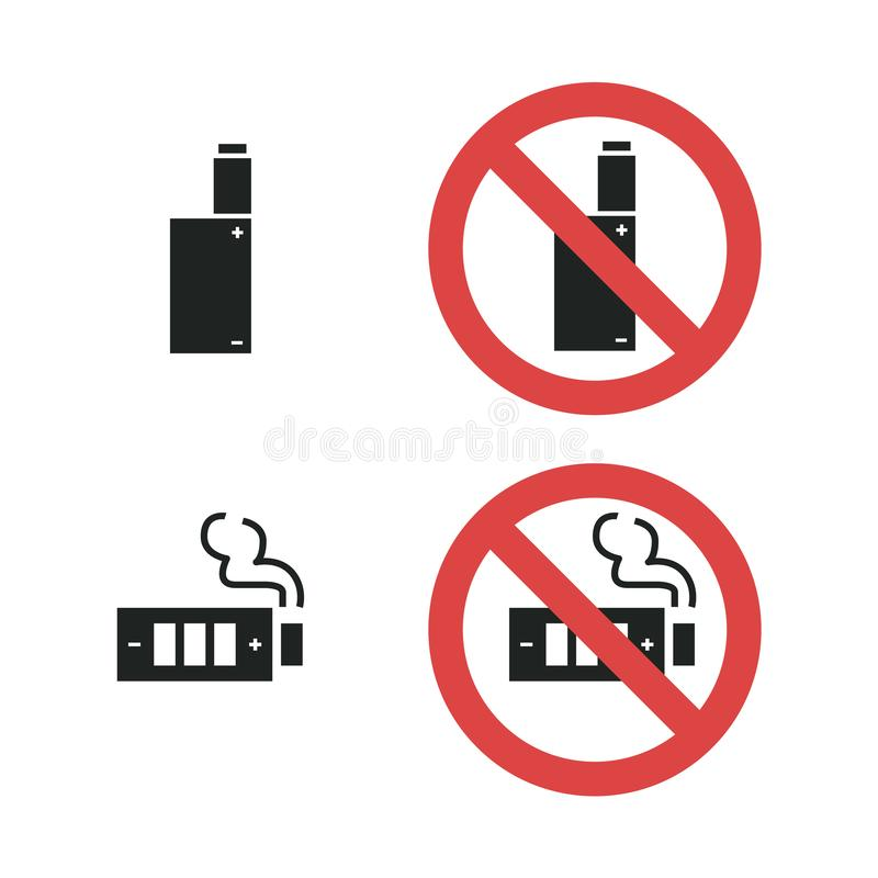 Vaping device not allowed forbidding sign. Vector icon illustration isolated on white royalty free illustration