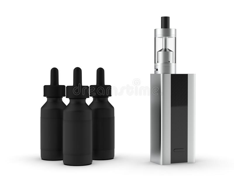 Vaping mod cig z cysternowymi atomizatoru i soku butelkami ilustracja 3 d ilustracja wektor