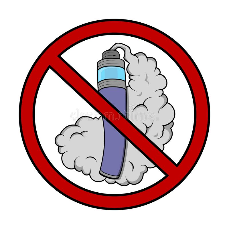 Vaping not allowed sign with vaporizer royalty free illustration