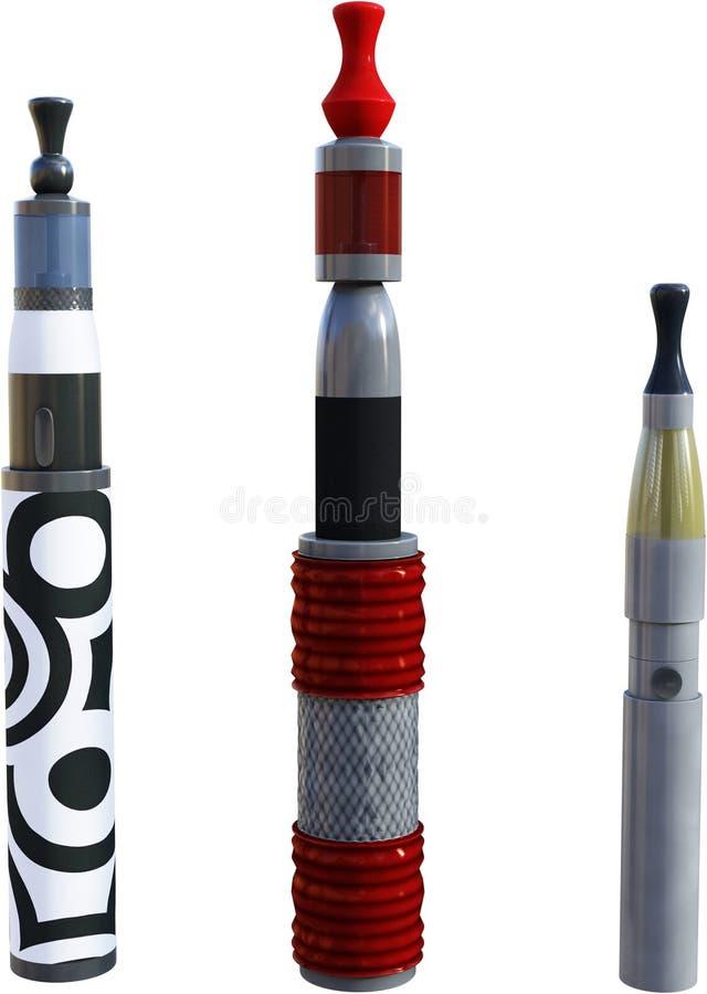 Vaping penna, nikotin och att röka, isolerat vektor illustrationer