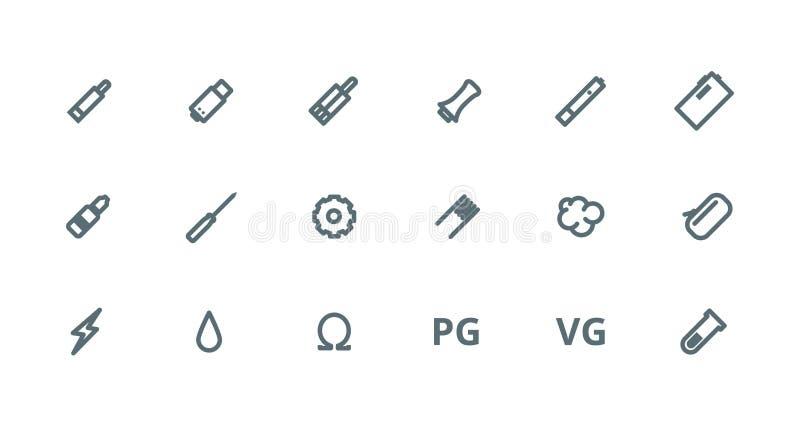Vaping skisserar symbolsuppsättningen royaltyfria bilder