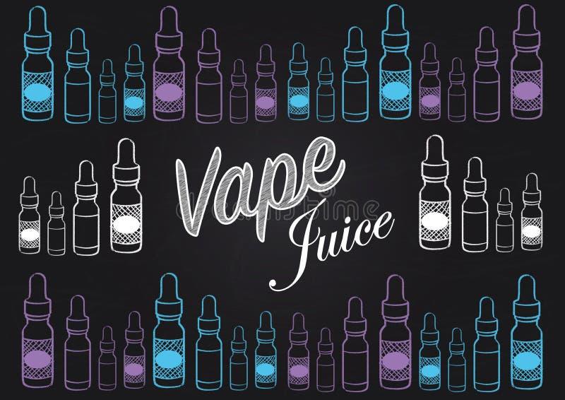 Vaping vape soku chalkboard stylu znak z ilustracjami vape soku butelki ilustracji