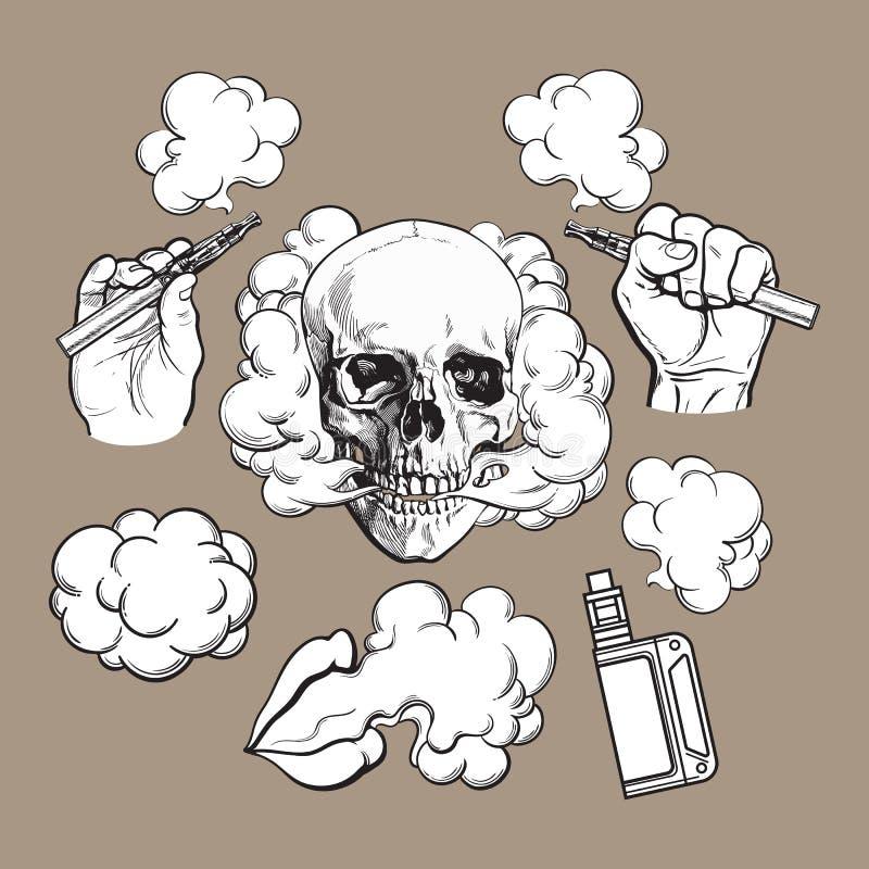 Vaping verwante elementen, symbolen - rokende schedel en lippen, verstuiver, e-sigaret stock illustratie