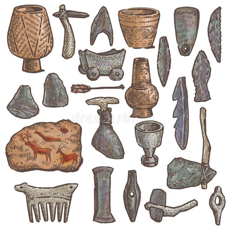 Vapnet för grottan för vektorn för stenåldern ställde det primitiva och den neanderthal forntida steniga kniv- och yxaillustratio royaltyfri illustrationer