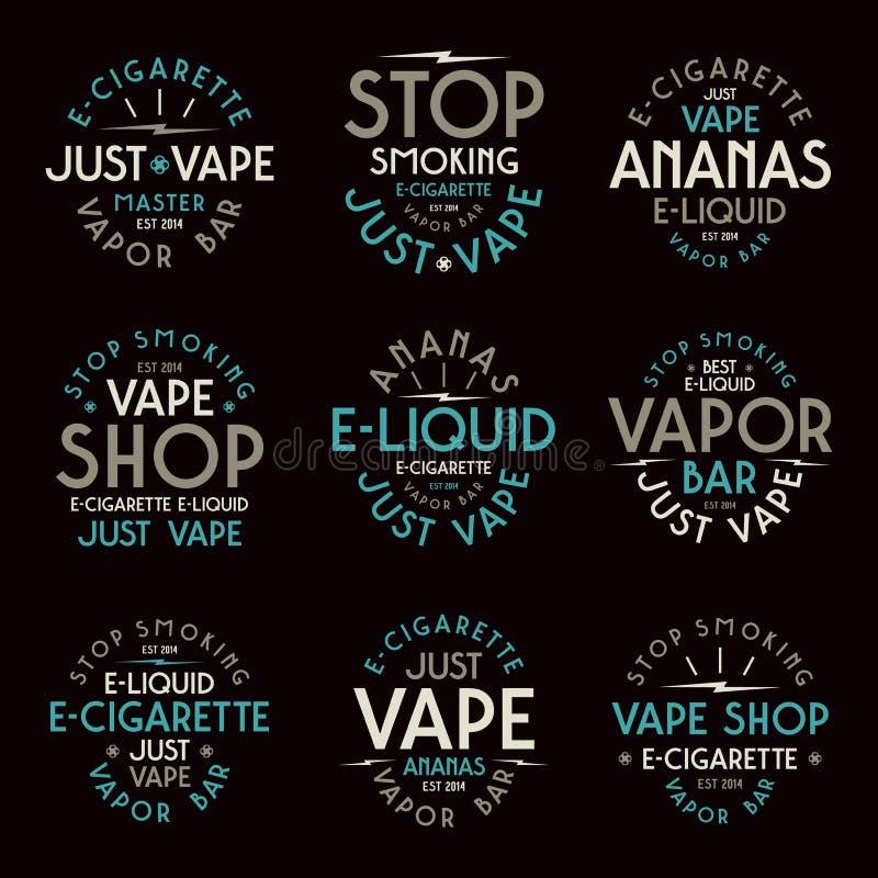 Vintage Monochrome Vaping Concept: Vape Shop Logo. Icons E-cigarette Stock Vector