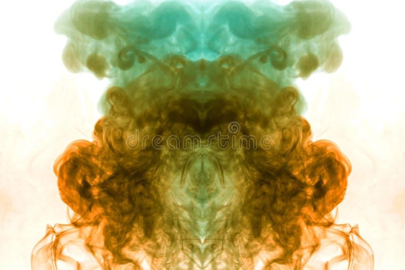 Vapor colorido exhalado del vape con una transición suave de las moléculas del color del amarillo al azul en un fondo blanco como ilustración del vector