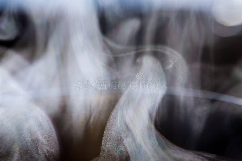 Vapor de agua blanco en fondo negro Tiro del primer fotos de archivo