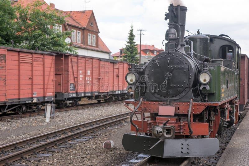 Vapor histórico trem railway posto fotografia de stock