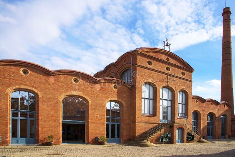 Vapor modernista Aymerich del edificio en Terrassa, España fotografía de archivo