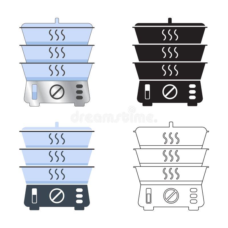 Vapore Apparecchiatura per cucina per il vapore di alimenti Apparecchiatura elettrica in stile semplice illustrazione di stock