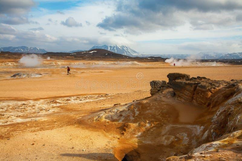 Vapore del geyser a Myvatn in isola del nord fotografia stock