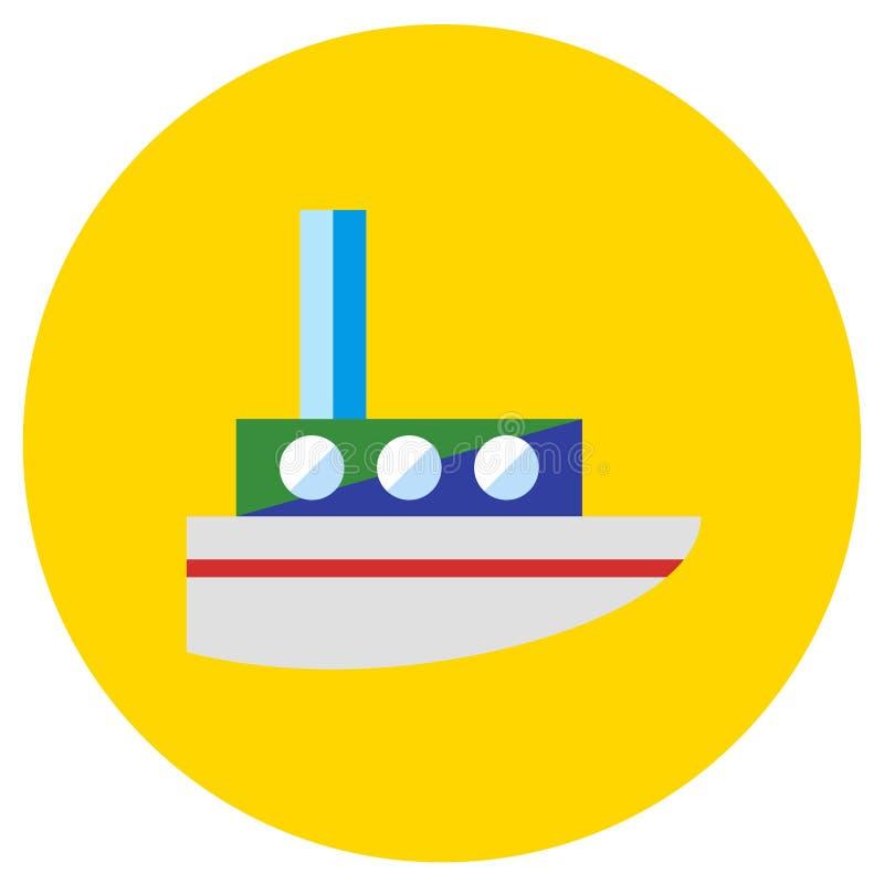 Vapore delle icone dei giocattoli nello stile piano Immagine di vettore su un fondo colorato giro Elemento di progettazione, inte illustrazione di stock