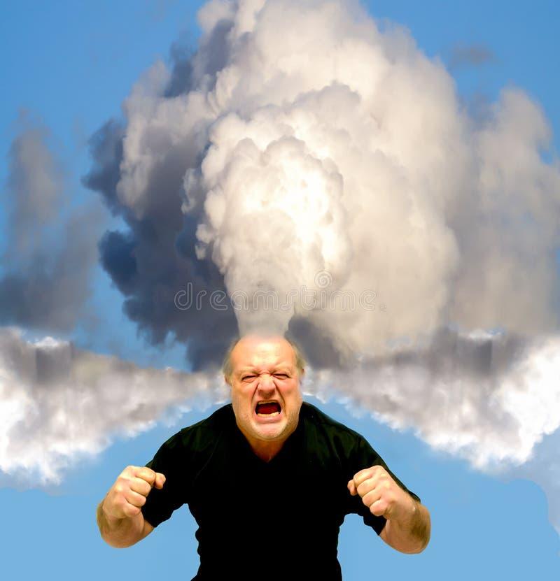 Vapore di salto dell'uomo arrabbiato fotografia stock