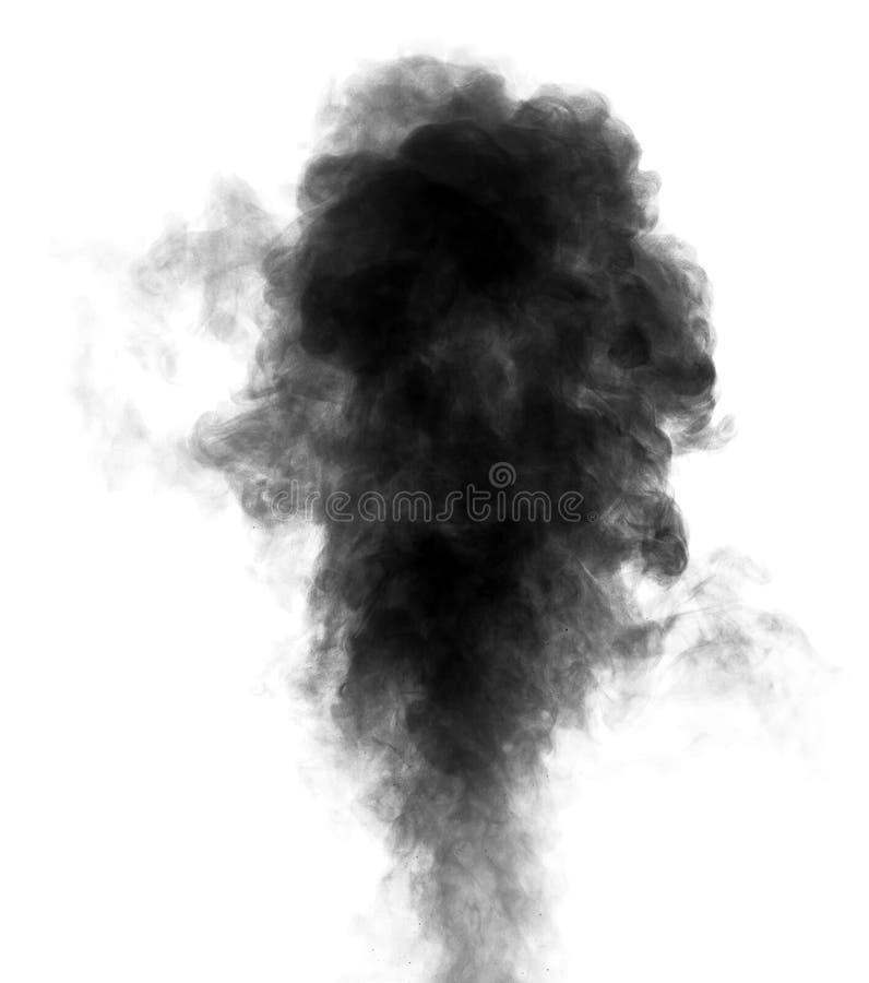 Vapore nero che assomiglia al fumo su fondo bianco fotografie stock libere da diritti