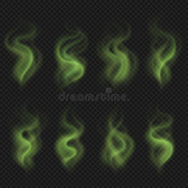 Vapore verde del cattivo odore, fumo tossico di puzzo, insieme sporco di vettore del puzzo di odore dell'uomo royalty illustrazione gratis