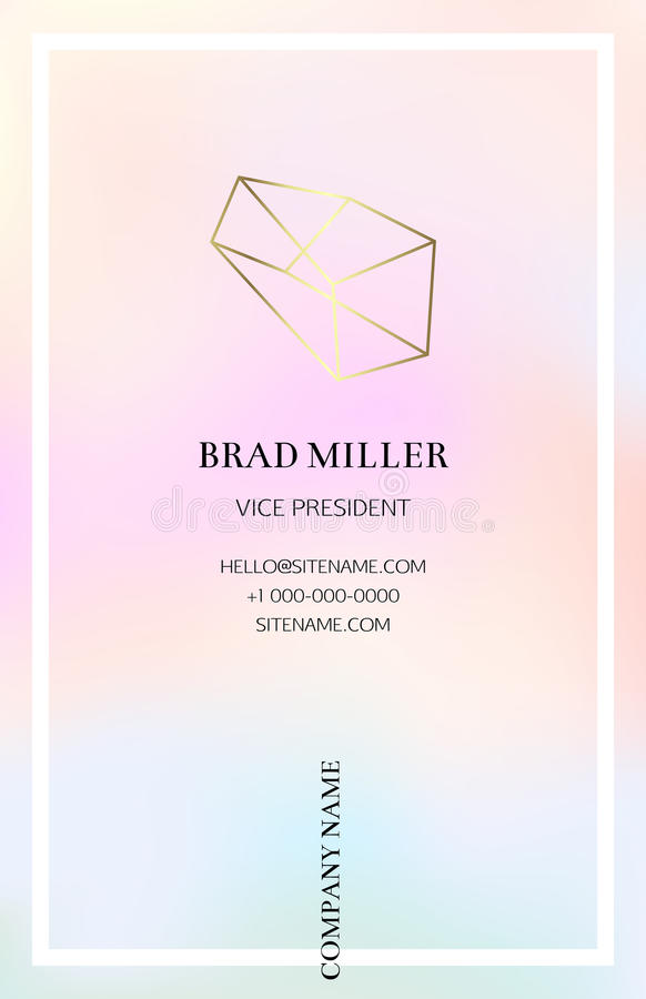 Vaporwave Business Card With A Gold Crystal Logo Stock Vector ...