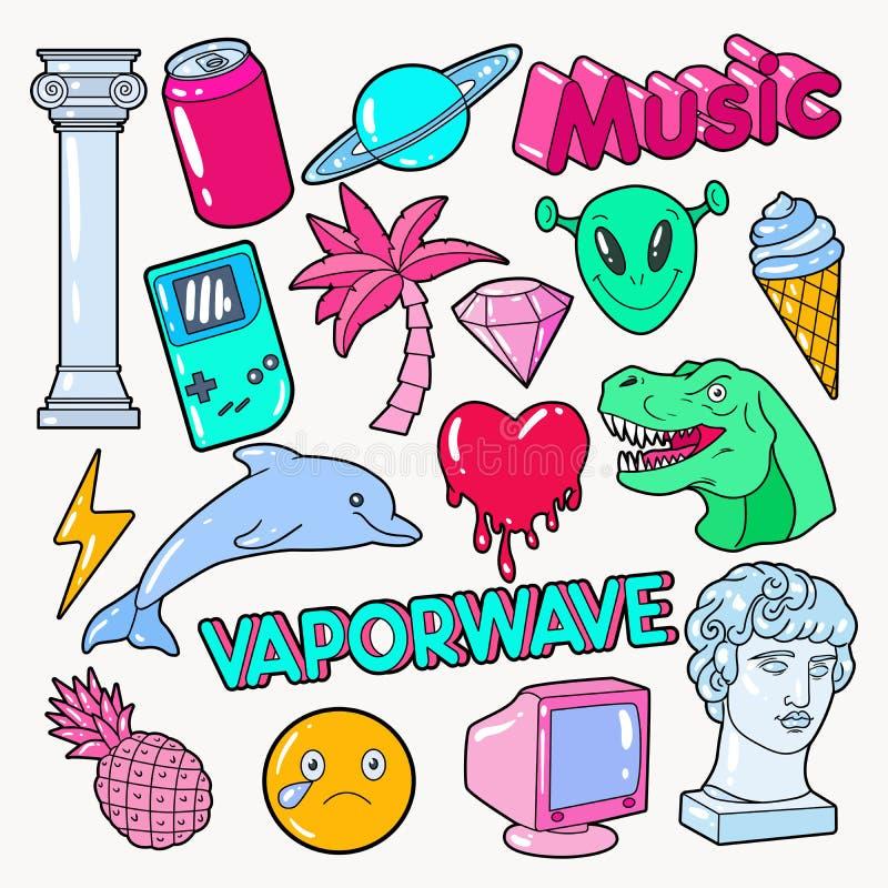 Vaporwave-Jugendlich-Art-Gekritzel mit Dinosaurier, Computer und Eiscreme stock abbildung