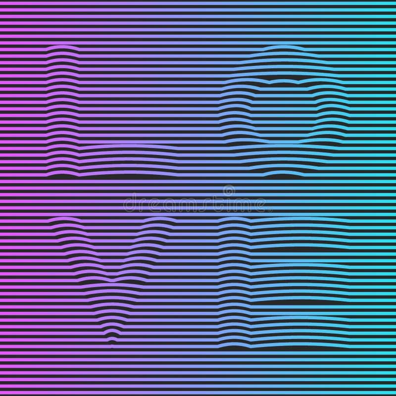 Vaporwave ou o cartaz holográfico criativo do synthwave, o inclinação de néon listraram o amor da palavra da ilusão para o emblem ilustração stock