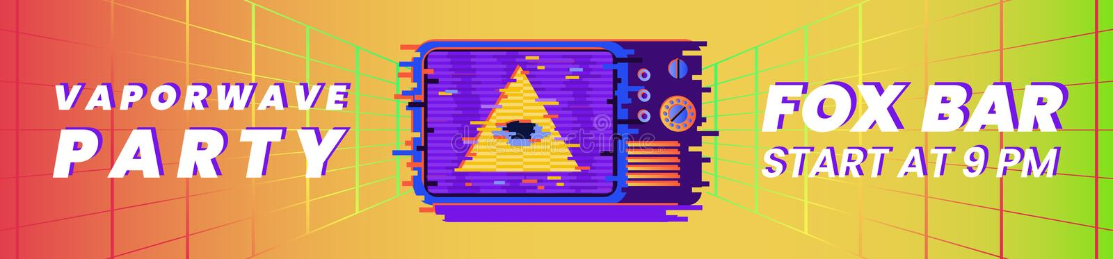 Vaporwave party horizontal banner template with all-seeing eye and old TV. Vaporwave party horizontal banner template with all-seeing eye and old TV on bright vector illustration