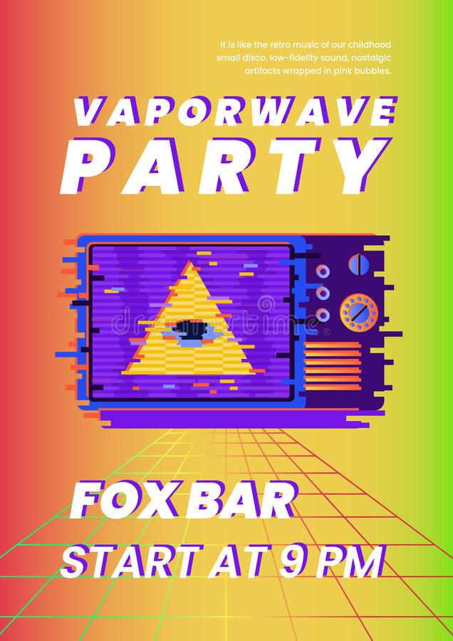 Vaporwave party nostalgic flyer and poster vector template with all-seeing eye and old TV. Vaporwave party nostalgic flyer and poster vector template with all vector illustration