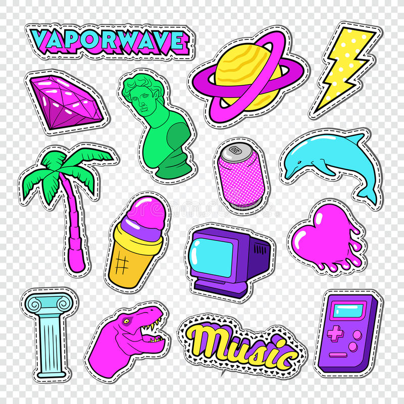 Vaporwave Teenager Style Doodle. Neon Stickers, Badges and Patches with Heart, Ice Cream and Palm Tree. Vector illustration vector illustration