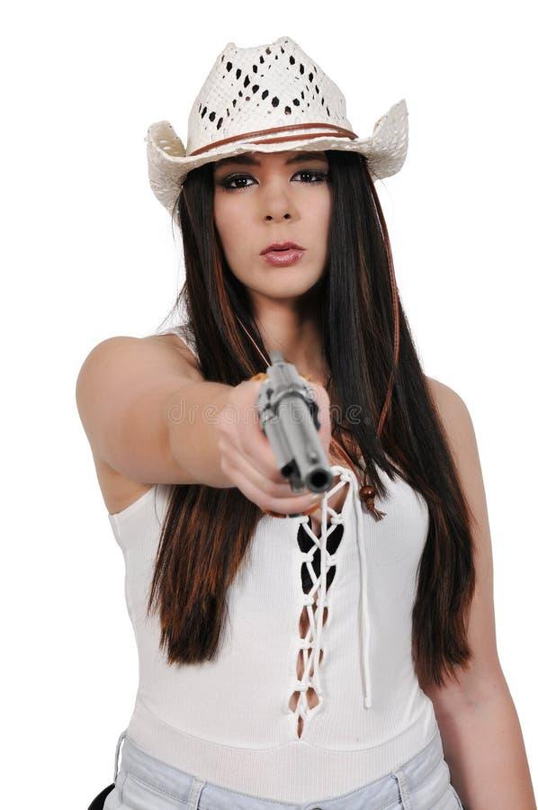 Vaqueira com relvolver fotografia de stock