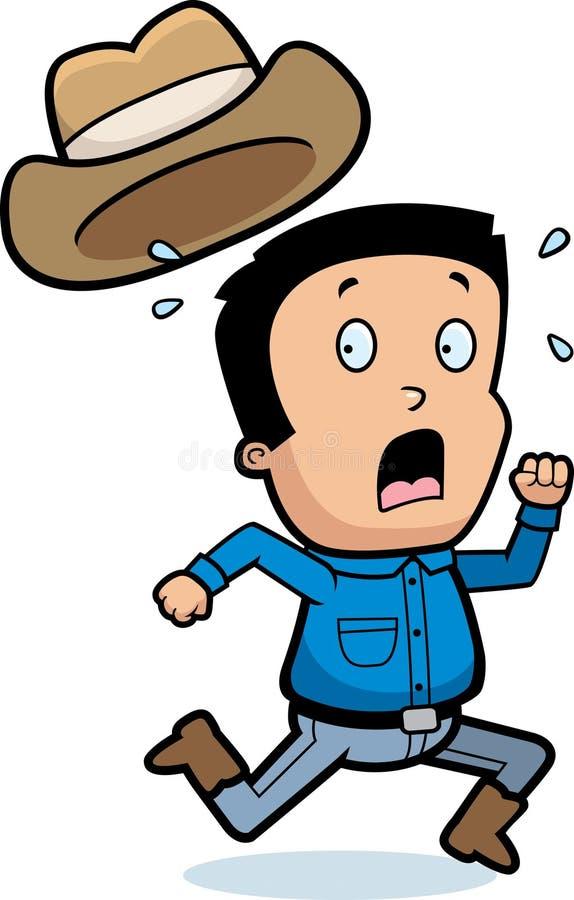 Vaqueiro assustado dos desenhos animados ilustração stock