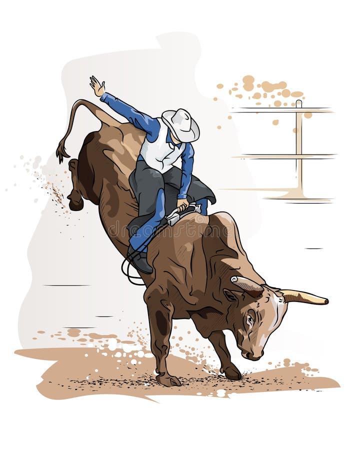 Vaqueiro Bull Riding ilustração royalty free