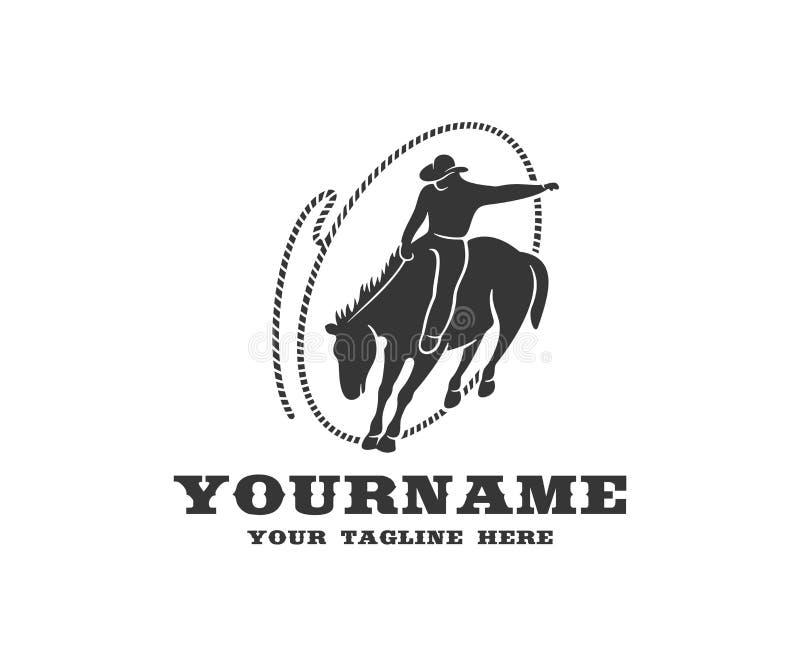 Vaqueiro a cavalo no laço, ocidental e no rodeio, projeto do logotipo Oeste selvagem, rancho, criação de animais de gado e produç ilustração stock