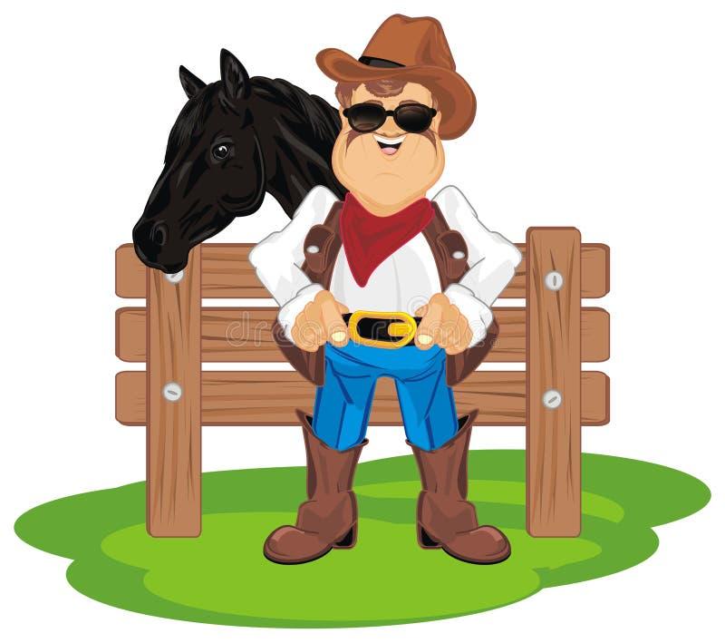 Vaqueiro com o cavalo no rancho ilustração royalty free