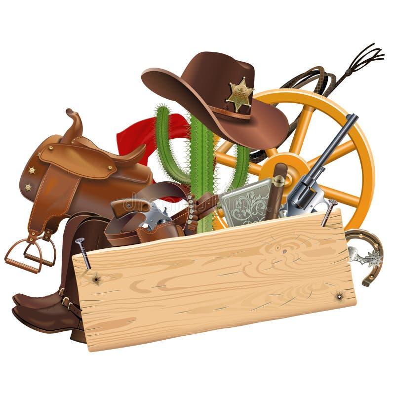 Vaqueiro Concept do vetor com prancha de madeira ilustração stock