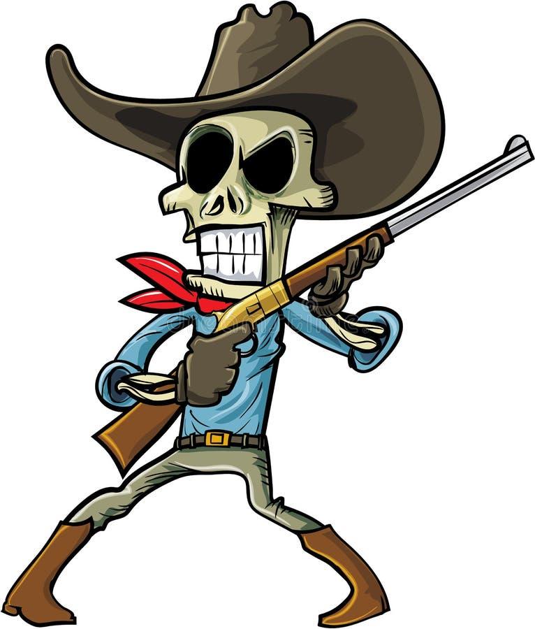 Vaqueiro de esqueleto dos desenhos animados com uma arma ilustração do vetor