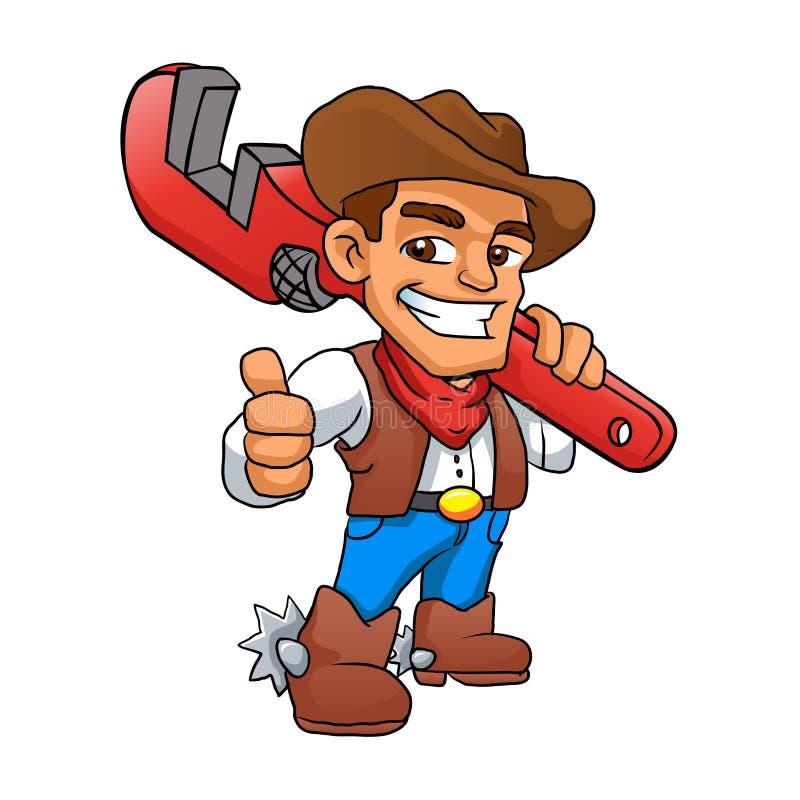 Vaqueiro do trabalhador manual do encanador ilustração royalty free