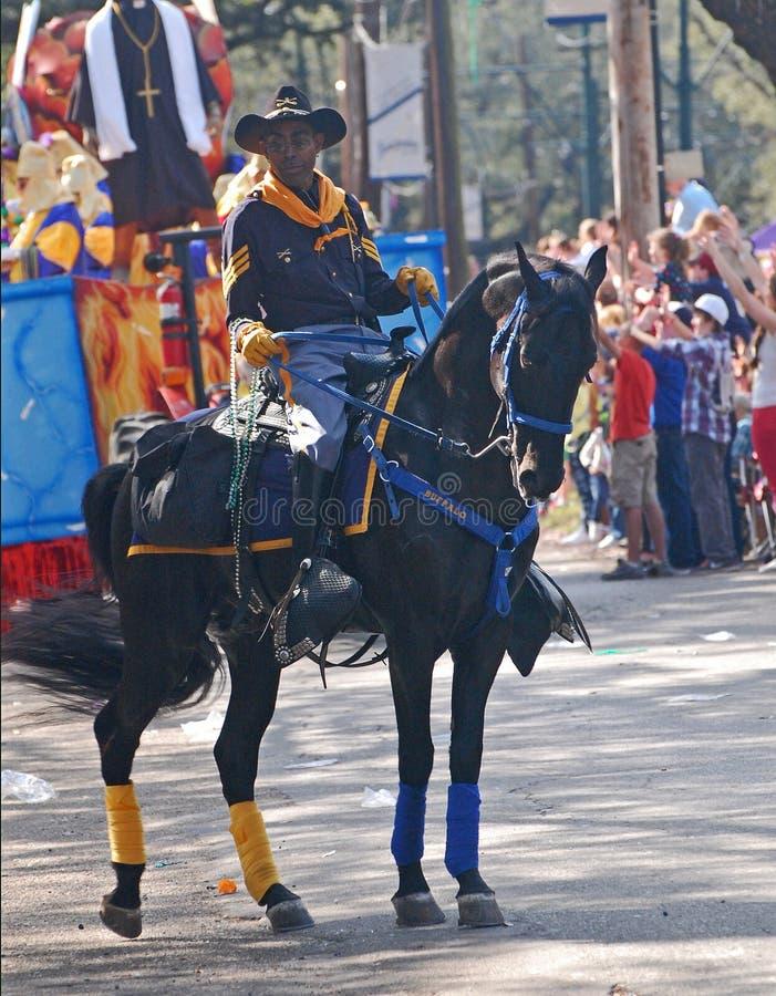 Vaqueiro e cavalo Decked para fora para Mardi Gras Parade imagens de stock