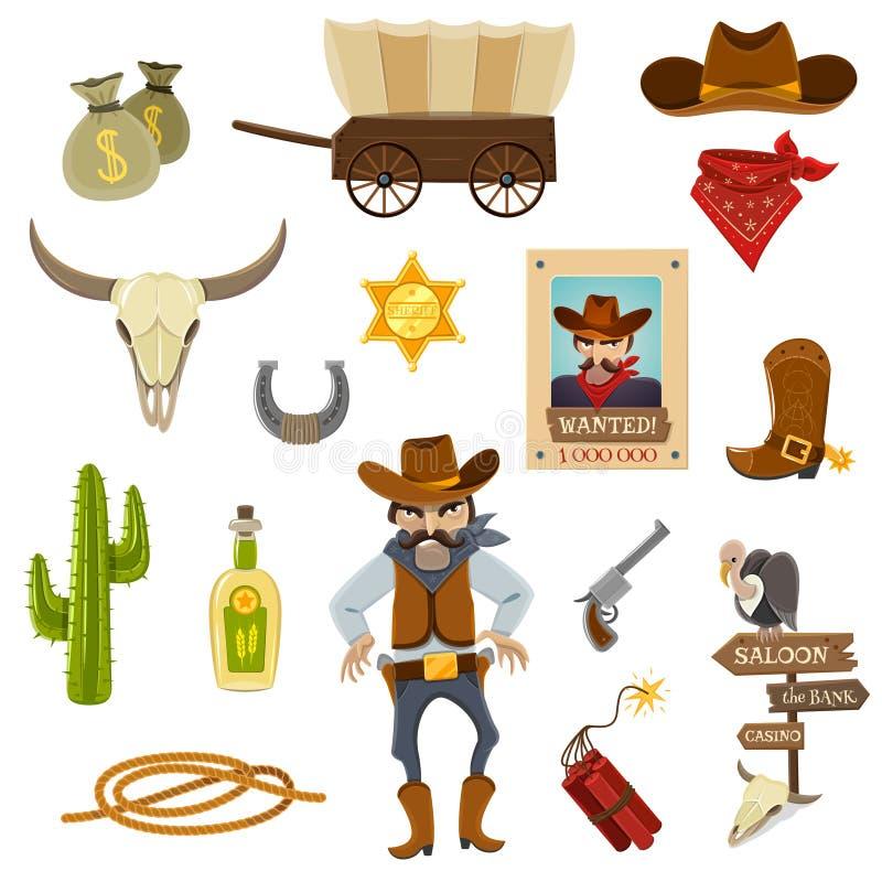 Vaqueiro Icons Set ilustração do vetor