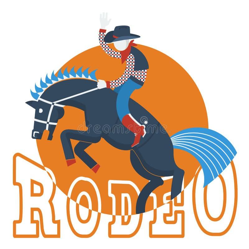 Vaqueiro no cavalo selvagem com o texto isolado no branco ilustração royalty free