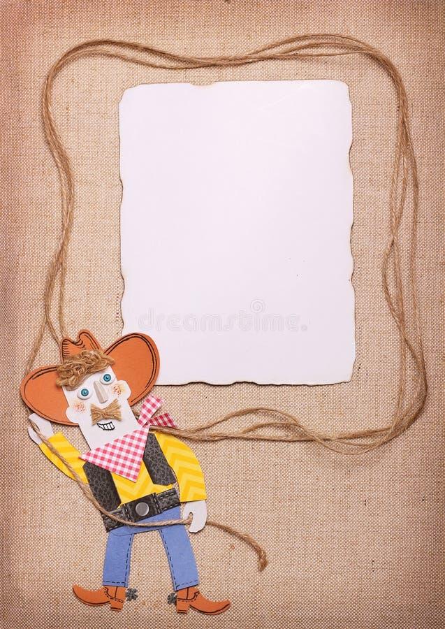 Vaqueiro no chapéu ocidental selvagem com fundo do laço e do papel Papel c ilustração do vetor