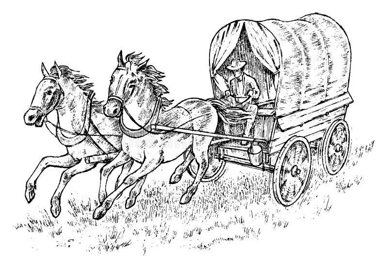 Vaqueiro no transporte Chicote de fios do cavalo do vintage ou carro do xerife s Ícone ocidental do rodeio, Texas Ranger, xerife  ilustração stock