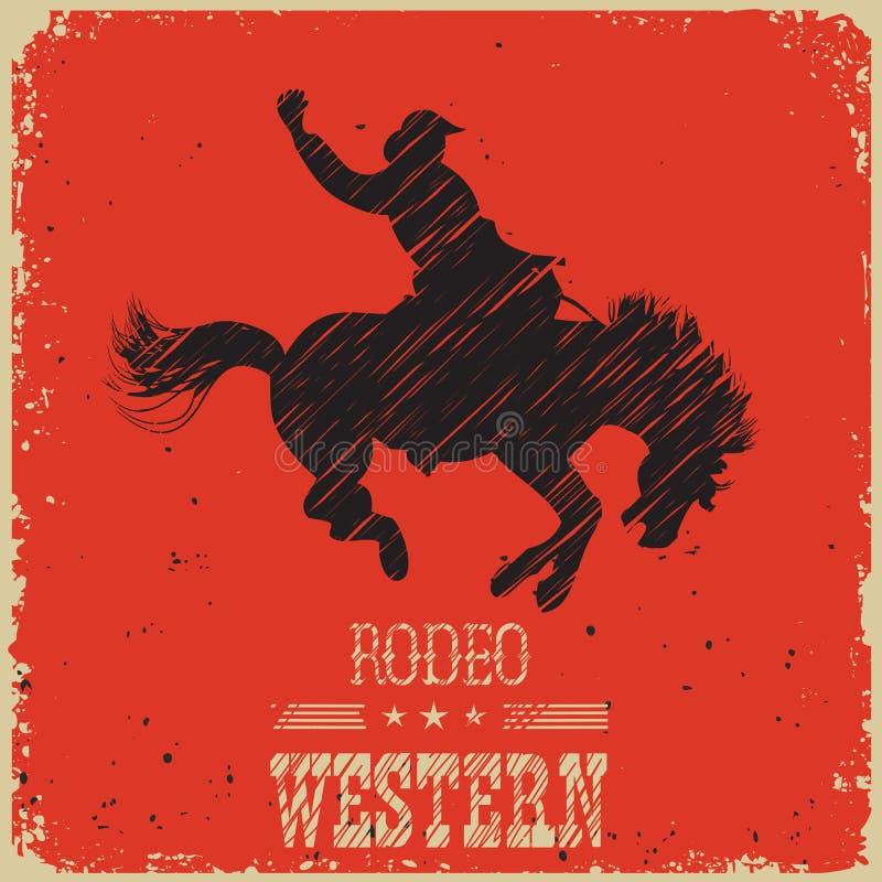 Vaqueiro ocidental que monta o cavalo selvagem Cartaz ocidental no papel vermelho ilustração do vetor