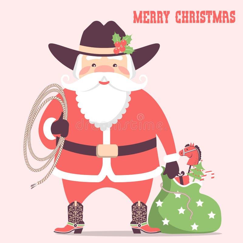 Vaqueiro Papai Noel com chapéu e presentes de época natalícia ocidentais Vetor ch ilustração do vetor