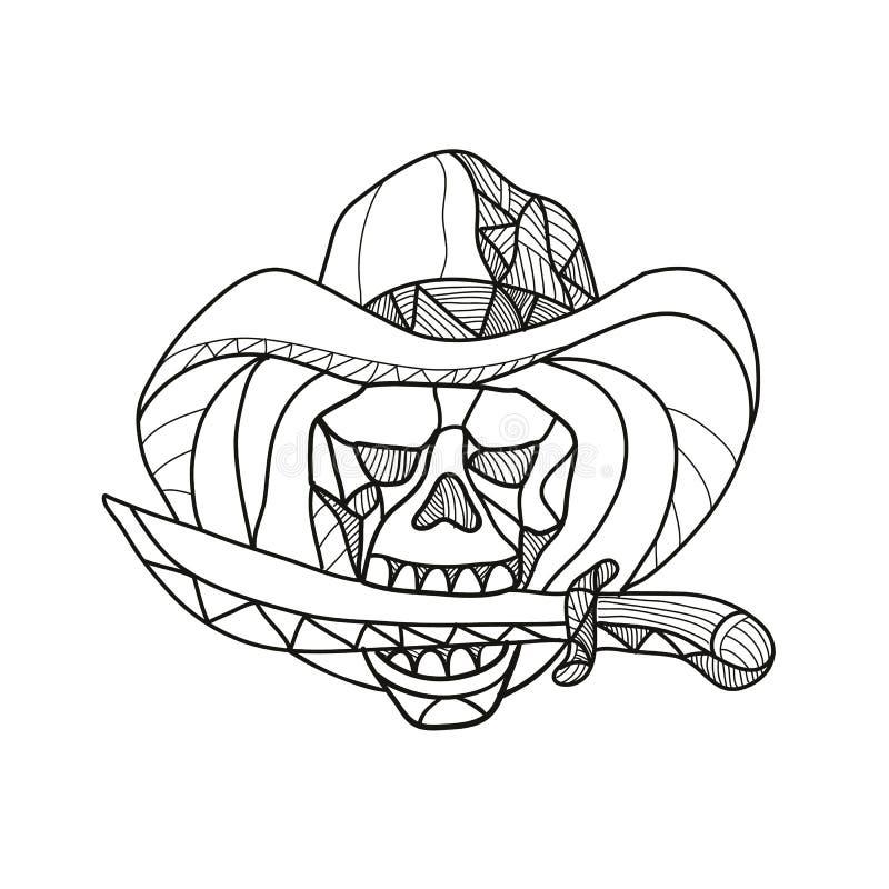 Vaqueiro Pirate Skull Biting Dagger Mosaic ilustração stock