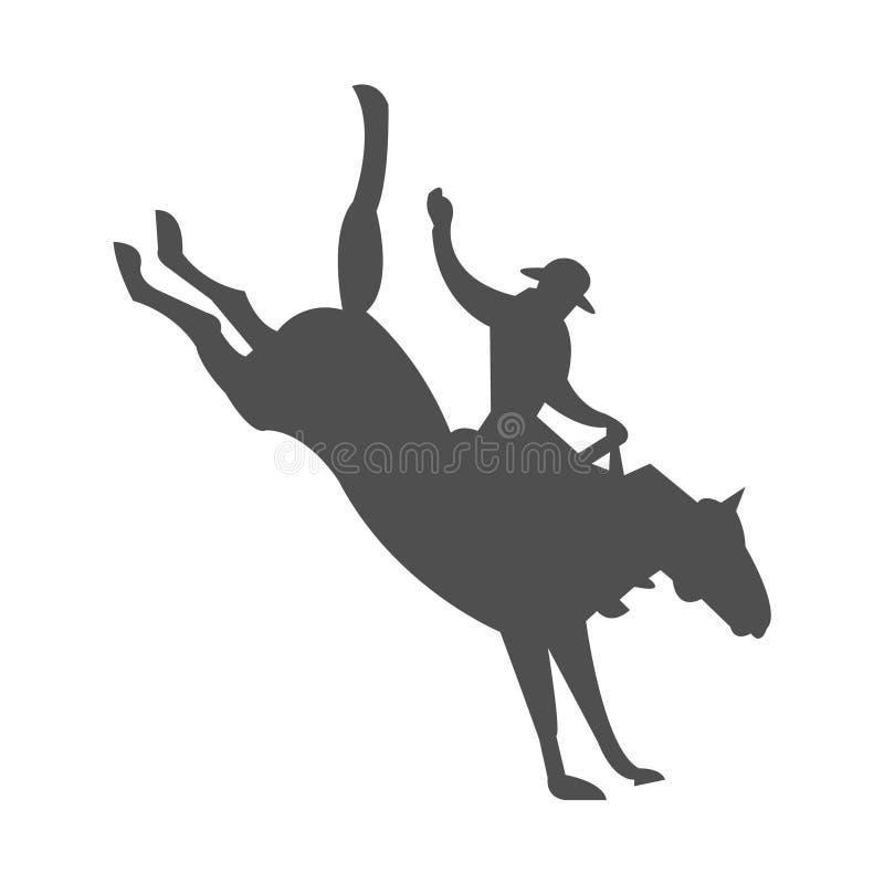 Vaqueiro que domestica um cavalo em um rodeio ilustração stock