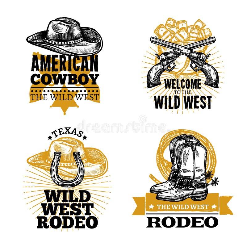 Vaqueiro Retro Emblems ilustração stock