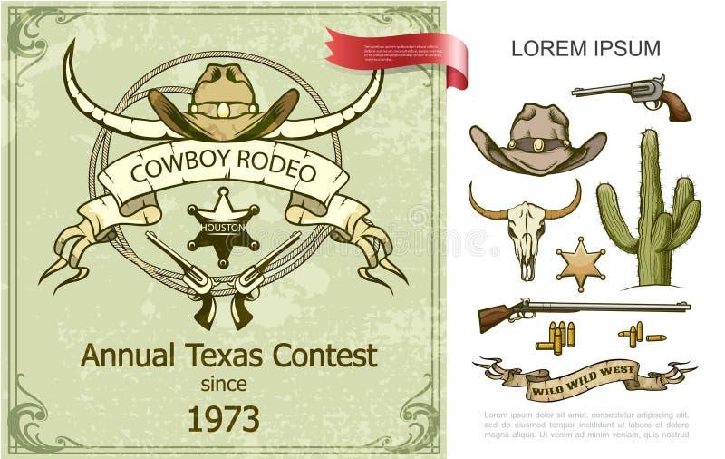 Vaqueiro Rodeo Colorful Composition do vintage ilustração stock