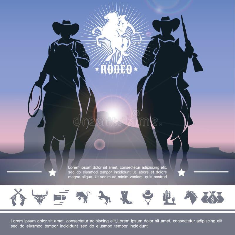 Vaqueiro Rodeo Concept do vintage ilustração royalty free