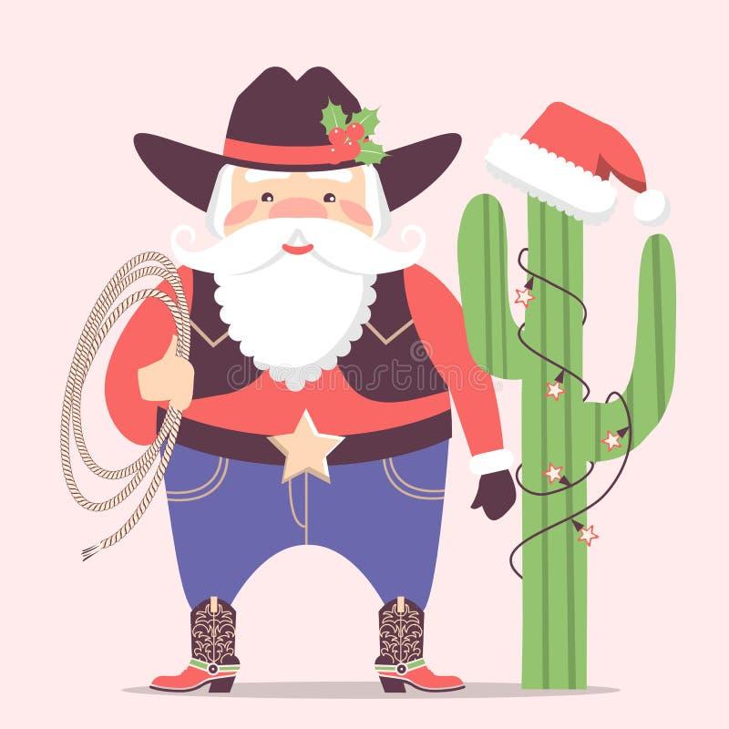 Vaqueiro Santa Claus com as decorações ocidentais do chapéu e do cacto Vect ilustração do vetor