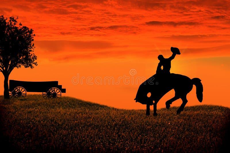Vaqueiro Silhouette ilustração do vetor