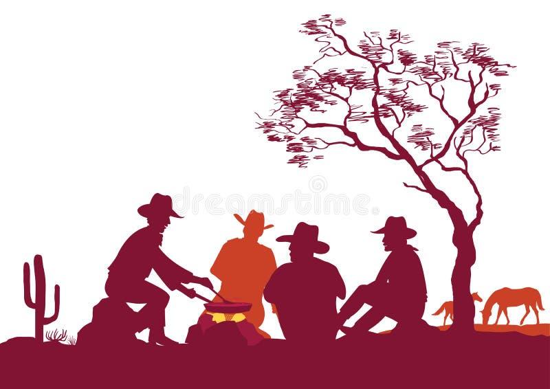 Vaqueiros em torno de uma fogueira Silhuetas do vetor no branco para o projeto ilustração do vetor
