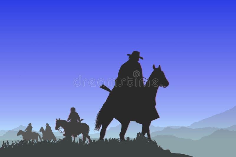 Vaqueiros na passagem de montanha ilustração do vetor